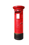 British postbox. Typical red british postbox isolated on white background Stock Photography
