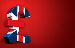 British pound. In red background vector illustration