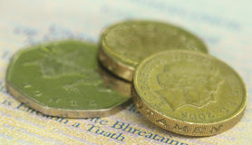 British Pound with bank notes Royalty Free Stock Photo