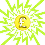 British pound coin in arrow zigzag circle vector Stock Images