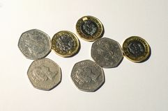 British pound coin. Placed in white backround Royalty Free Stock Images