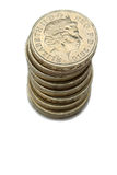 British Pound Coins. A Stack Of British Pound Coins With Queen Elizabeth Portrait Isolated On A White Background Stock Photography