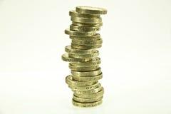 British pound coins. Over white royalty free stock photos