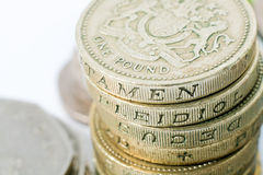 British Pound Coins Close Up. British Pound coins isolated on white background Stock Photography