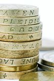 British Pound Coins Close Up Stock Photo