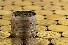 British pound coins in a neat stack. Royalty Free Stock Photography