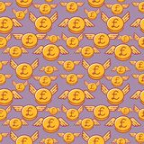 British pound coins with wings, seamless vector pattern, british currency stock illustration