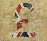 Pound and UK flag icon sign on grunge background. British pound currency icon sign with UK flag over distressed shabby grunge background royalty free stock photo
