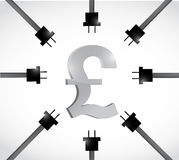 British pound currency and power cables. Stock Photography