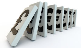 British pound domino. Domino with puond and euro, currency signs 3d render Stock Photos