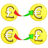 British pound and euro coin exchange vector Stock Photos