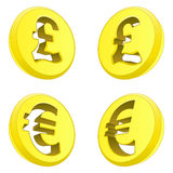 British pound and euro perspective coin drawing vector Stock Photography