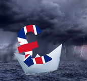 British pound floats in the stormy sea Royalty Free Stock Photos