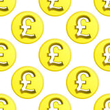 British pound golden coin symbol pattern tile  Stock Photography