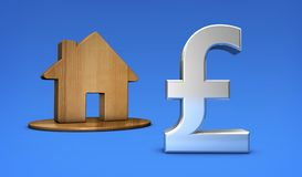 British Pound And Home Icon UK Property Values Concept Stock Photos
