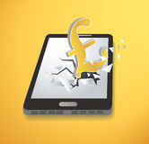 British Pound icon Breakthrough screen smartphone vector. EPS 10 Stock Image