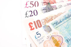 British Pound money bills of United Kingdom in Different value Royalty Free Stock Photography