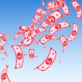 British pound notes falling. Messy GBP bills on blue sky background. United Kingdom money. Authentic. Vector illustration. Appealing jackpot, wealth or success stock illustration