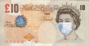 British pound with Queen Elizabeth in a medical mask. Coronovirus COVID-19 pandemic concept. World financial crisis of the economy