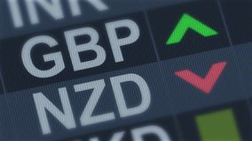 British pound rising, New Zealand dollar falling, exchange rate fluctuations. Stock photo stock photography