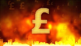 British pound sign against fiery background, stable currency, financial market. Stock footage stock image
