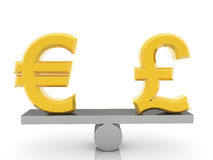 British Pound sign and Euro sign on seesaw. On white backgrounds stock photo