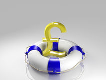 British pound sign in the lifebuoy Royalty Free Stock Photos