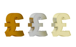British pound sign - Three precious metals Royalty Free Stock Photos
