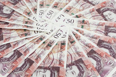 British pound sterling banknote circle. British 50 pound sterling banknote circle Stock Photography