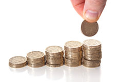 British pound sterling coins stack Stock Photo