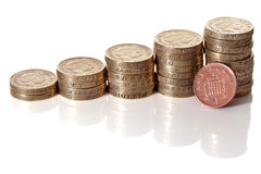 British pound sterling coins stack. In columns symbolizing wealth growth with a penny coin resting on it Royalty Free Stock Photos