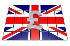 British Pound Sterling on Englands Flag. 3d illustration British Pound Sterling on Englands Flag Stock Photo