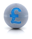 British pound sterling icon on globe formed by. Dollar sign, 3d render, white background Royalty Free Stock Images