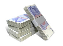 British Pound Sterling Notes Bundles Stack. A stack of bundled British Pound Sterling banknotes on an isolated background Stock Photos