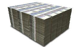 British Pound Sterling Notes Bundles Stack. A stack of bundled British Pound Sterling banknotes on an isolated background Royalty Free Stock Photos