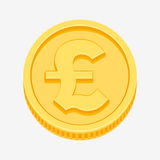 British pound sterling symbol on gold coin Stock Photos