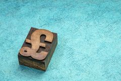 British Pound Sterling symbol in wood type. British Pound Sterling symbol in letterpress wood type printing block against turquoise handmade paper with a copy royalty free stock photography