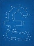 British pound symbol blueprint Stock Images