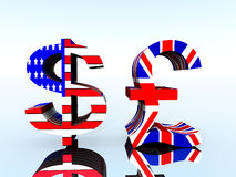 British Pound And US Dollar 21. A set of US and UK currency symbols Stock Photo