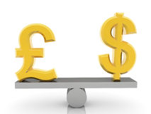 British Pound and USA Dollar signs on seesaw on white Royalty Free Stock Image