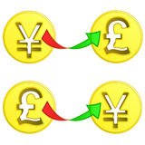 British pound and yen coin exchange vector Royalty Free Stock Images