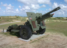 British 25-pounder field gun as D-Day memorial, Normandy. British 25-pounder field gun or artillery piece serving as D-Day memorial, Normandy Stock Photography