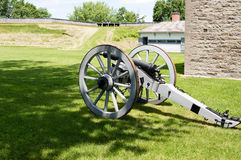 British 6-pounder. A British smooth bore brass cannon manufactured in the nineteenth century.  It is currently located in Fort Wellington, Prescott, Ontario Royalty Free Stock Photography