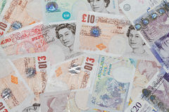 British pounds. Background of British pound sterling banknotes Royalty Free Stock Photo