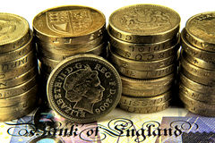 British Pounds. Banknotes and coins Royalty Free Stock Photography