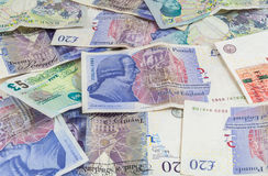 British pounds banknotes background Royalty Free Stock Images