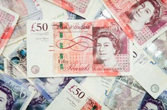 British pounds. Lots of british pounds of all kinds of values Stock Images