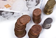 British pounds notes and coins. Royalty Free Stock Photo