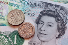 British pounds. Original graphic macro photo uk pounds coins and banknotes Stock Photo
