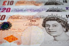 British Pounds Sterling. Banknotes only royalty free stock photos